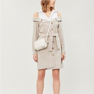Maje redwan plaid shirt dress